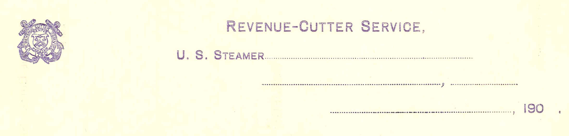 (stationary) U. S. REVENUE CUTTER SERVICE LETTER SHEETS. Cover Sheet  Includes Revenue Cutter Service Letterhead With Subject Information On Back.