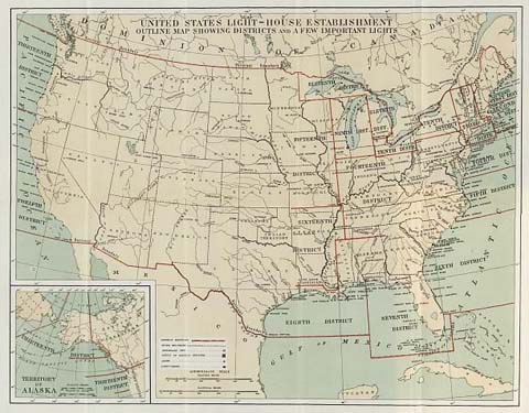 map u s light house service continental united states and alaska map of districts c 1890 1910 a rare opportunity to obtain an official u s