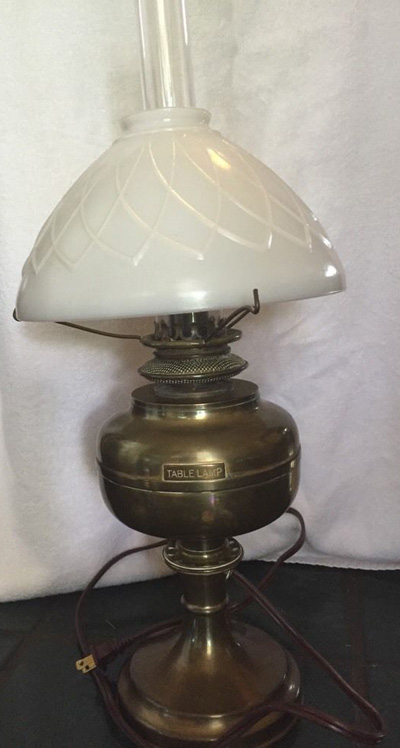 United States Lighthouse Service Table Lamp With Rotating Burner Wick  Raiser, With Chimney And Milk Glass Globe From Point Loma Light Station  C.1880   1900.